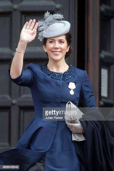 Crown Princess Mary of Denmark attends a reception at Copenhagen Town Hall for the 75th Birthday of Queen Margrethe II of Denmark on April 16 2015 in...