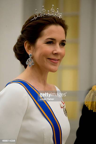 Crown Princess Mary of Denmark attends a State Banquet at Christiansborg Palace during the state visit of the King and Queen of the Netherlands on...