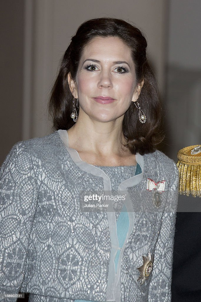 <a gi-track='captionPersonalityLinkClicked' href=/galleries/search?phrase=Crown+Princess+Mary+of+Denmark&family=editorial&specificpeople=158374 ng-click='$event.stopPropagation()'>Crown Princess Mary of Denmark</a> attends New Year's Levee held by Queen Margrethe of Denmark, for Diplomats,at Christiansborg Palace on January 3, 2013 in Copenhagen, Denmark.