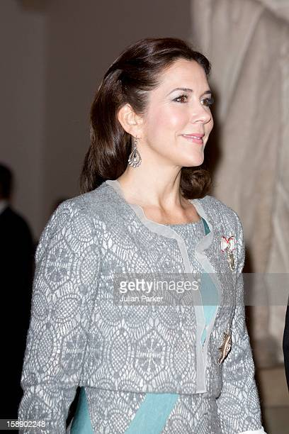 Crown Princess Mary of Denmark attends New Year's Levee held by Queen Margrethe of Denmark for Diplomatsat Christiansborg Palace on January 3 2013 in...