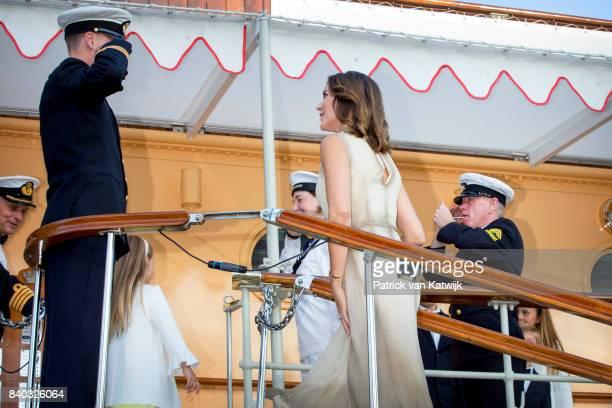 Crown Princess Mary of Denmark attends the 18th birthday celebration of Prince Nikolai at royal ship Dannebrog on August 28 2017 in Copenhagen Denmark
