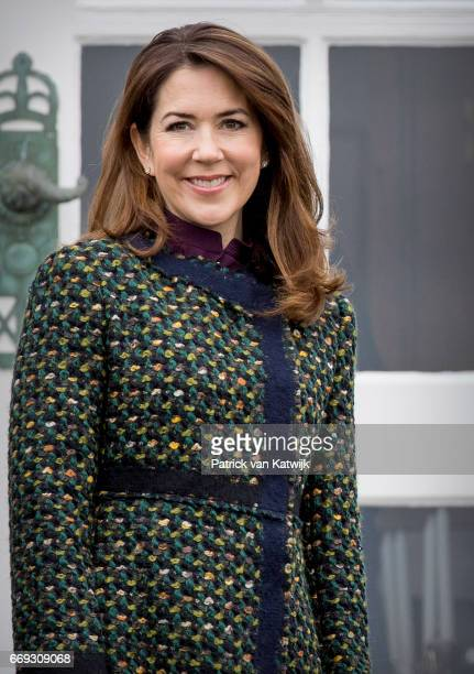 Crown Princess Mary of Denmark attends the 77th birthday celebrations of Danish Queen Margrethe at Marselisborg Palace on April 16 2017 in Aarhus...