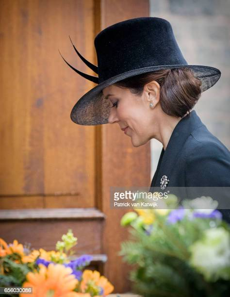 Crown Princess Mary of Denmark attends the funeral of Prince Richard at the Evangelische Stadtkirche on March 21 2017 in Bad Berleburg Germany Prince...