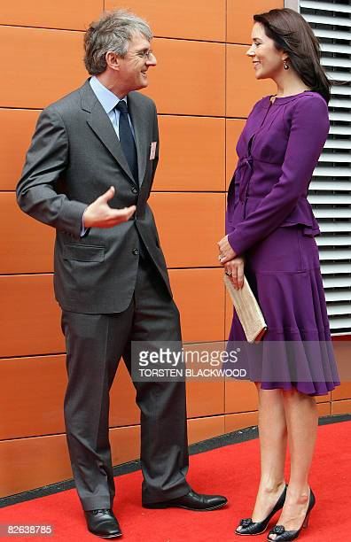 Crown Princess Mary of Denmark chats with Steven Lowy before opening the Victor Chang Lowy Packer building of the St Vincent's Centre for Applied...