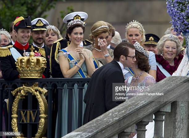 Crown Princess Mary Of Denmark Crown Princess Maxima Of Holland And Crown Princess MetteMarit Watch As Daniel Westling Is Greeted By Queen Silvia Of...