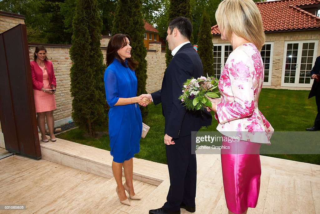Crown Princess Mary of Denmark, Damien Miller and Natasha Stott Despoja arrive at a reception for Australian delegates attending the Women Deliver Conference at the Australian Ambassador's Residence on May 15, 2016 in Copenhagen, Denmark.