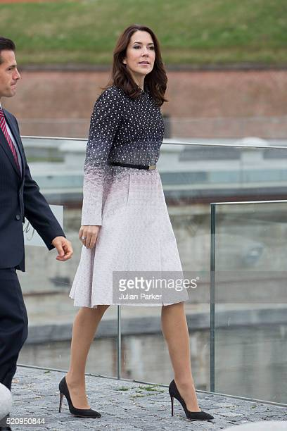 Crown Princess Mary of Denmark during a visit to Kronberg Castle and the M/S Maritime Museum of Denmark during the State visit of the President of...
