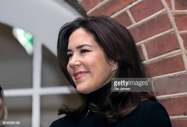Crown Princess Mary of Denmark during her visit to the Danish Mother's Aid's new family council house in Copenhagen Denmark on November 18 2016