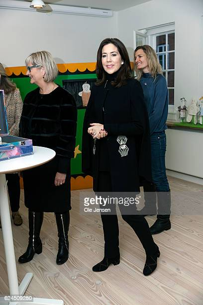 Crown Princess Mary of Denmark during her visit to the Danish Mother's Aid's new family council house in on November 18 2016 in Copenhagen Denmark