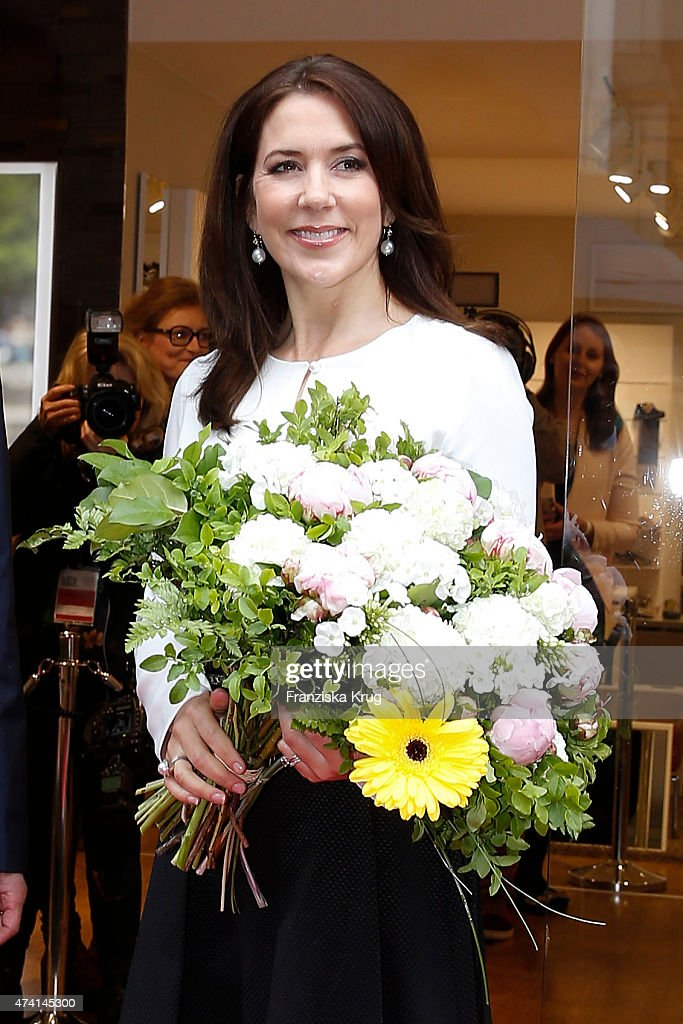 Crown Princess Mary of Denmark during the ECCO store opening on May 20, 2015 in Munich, Germany.