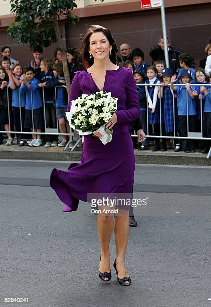 Crown Princess Mary of Denmark greets fans after she had unveiled a statue of the late Dr Victor Chang outside of the Lowy Packer Building at the...