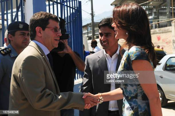 Crown Princess Mary of Denmark greets people at Centro de Referência da Juventude during her visit to Cidade de Deus in Rio on September 19 2012 in...