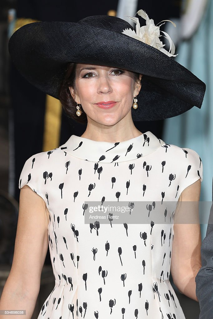 Crown Princess Mary of Denmark is seen at the christening of Prince Oscar of Sweden at Royal Palace of Stockholm on May 27, 2016 in Stockholm, Sweden.