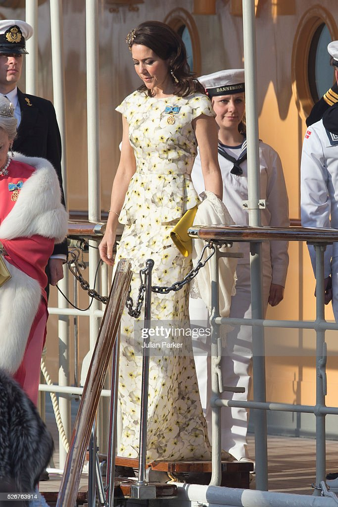 Crown Princess Mary of Denmark leaves the Danish Royal Yacht, The Dannebrog, to attend the Banquet at The Royal Palace in Stockholm, on the occasion of King Carl Gustaf of Sweden's 70th Birthday, on April 30, 2016, in Stockholm, Sweden.