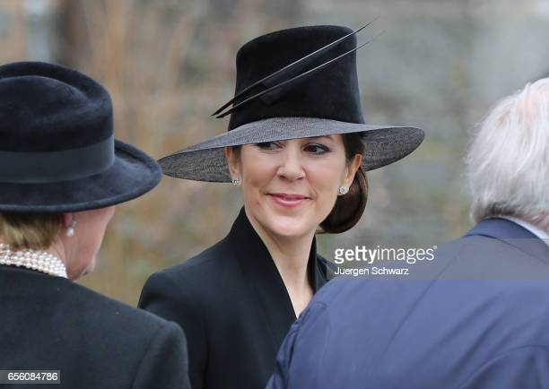 Crown Princess Mary of Denmark leaves the funeral service for the deceased Prince Richard of SaynWittgensteinBerleburg at the Evangelische...