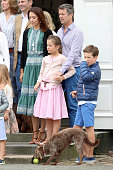 Crown Princess Mary of Denmark Princess Isabella of Denmark Crown Prince Frederik of Denmark and Prince Christian of Denmark pose for photographers...