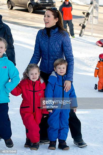 Crown Princess Mary of Denmark Princess Josephine and Prince Vincent of Denmark attend a Photocall during their annual Ski holiday on February 8 2015...