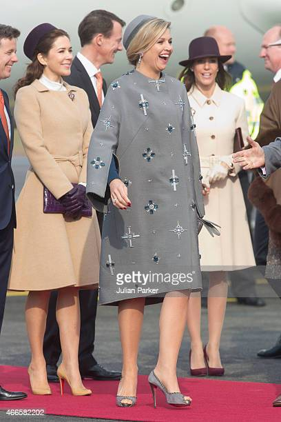 Crown Princess Mary of Denmark Queen Maxima of the Netherlands and Princess Marie of Denmark at Copenhagen Airport at the start of a Dutch State...