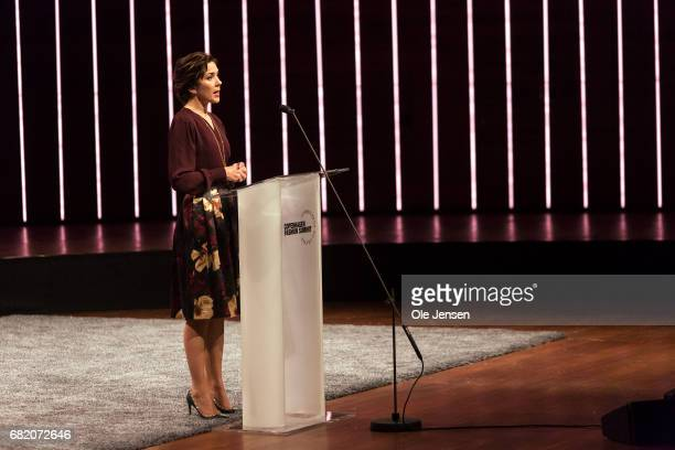 Crown Princess Mary of Denmark speaks on stage about sustainability in the fashion industry during Copenhagen Fashion Summit on May 11 2017 in...