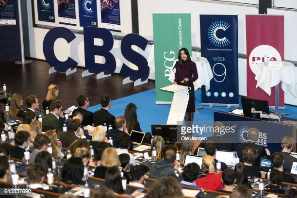 Crown Princess Mary of Denmark speaks to students at Copenhagen Business School on February 22 2017 in Copenhagen Denmark The Crown Princes spoke at...