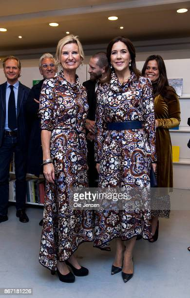 Crown Princess Mary of Denmark together with Nina WedellWedellsborg board member at the Magasin du Nord Foundation at the Magasin du Nord Fashion...
