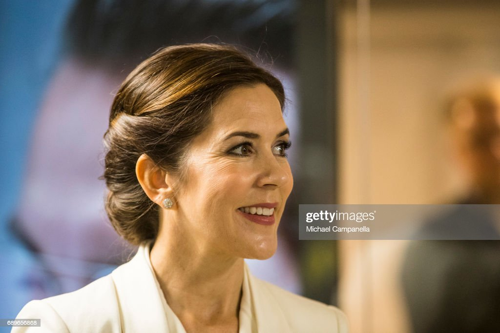 Crown Princess Mary of Denmark visiting the Designlounge on May 29, 2017 in Stockholm, Sweden.