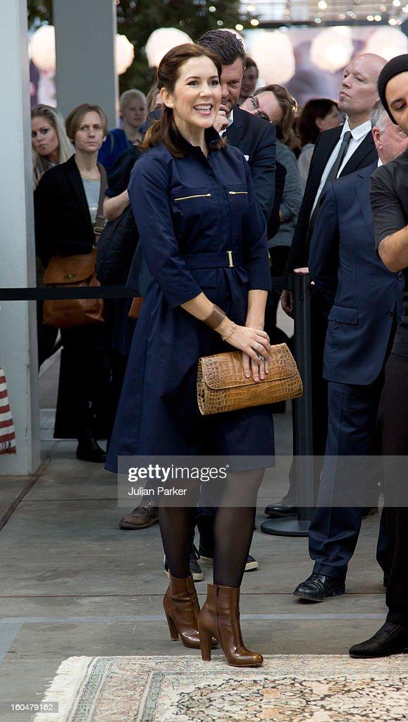 Crown Princess Mary of Denmark visits The Copenhagen International Fashion Fair at the Bella Center, during Copenhagen Fashion Week on February 1, 2013 in Copenhagen, Denmark.