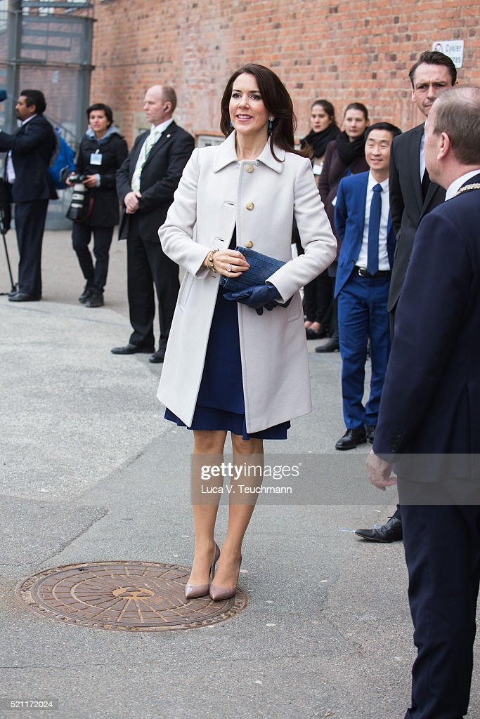 Crown Princess Mary of Denmark visits Tjornegaard School during the State visit of the President of The United Mexican States, President Enrique Pena Nieto, and his wife Angelica Rivera to Denmark on April 14, 2016 in Gentofte, Denmark.