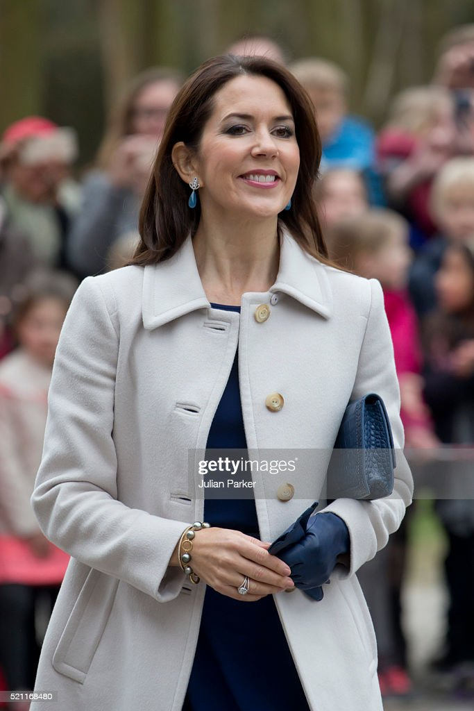 Crown Princess Mary of Denmark visits Tjornegaard School to accompany the President and his wife, on the second day of a State visit of the President of The United Mexican States, President Enrique Pena Nieto, and his wife Angelica Rivera to Denmark. on April 14, 2016, in Copenhagen, Denmark