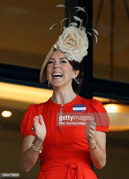 Crown Princess Mary of Denmark watches the racing as she attends day 2 of Royal Ascot at Ascot Racecourse on June 15 2016 in Ascot England