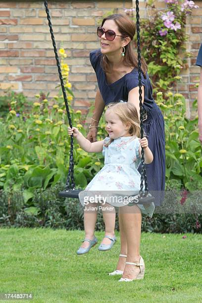 Crown Princess Mary of Denmark with her daughter Princess Josephine of Denmark attend the annual Summer photocall for the Royal Danish family at...