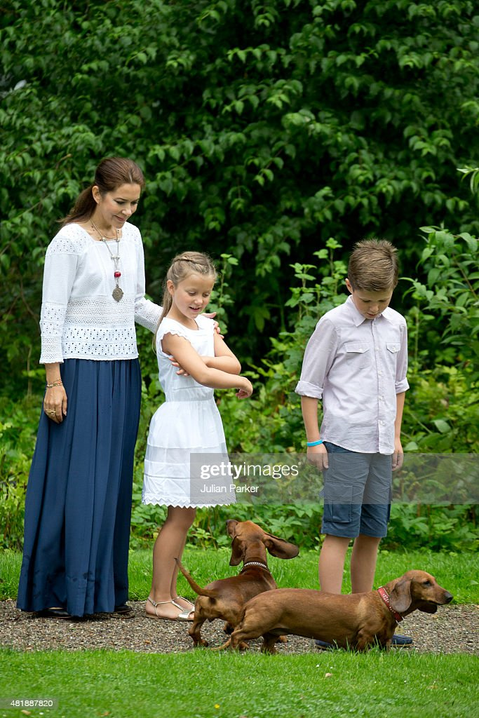 Crown Princess Mary of Denmark with Prince Christian and Princess Isabella attend the annual summer Photocall for The Danish Royal Family at Grasten Castle, on July 25, 2015 in Grasten, Denmark.