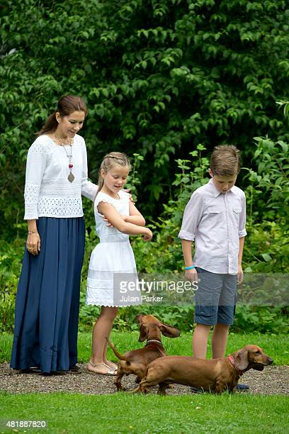 Crown Princess Mary of Denmark with Prince Christian and Princess Isabella attend the annual summer Photocall for The Danish Royal Family at Grasten...