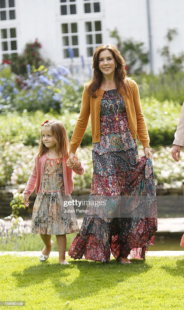 Crown Princess Mary Of Denmark With Princess Isabella Of The Danish Royal Family Hold A Family Photocall At Grasten Palace In Southern Denmark.