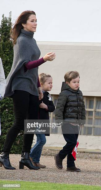 Crown Princess Mary of Denmark with Princess Josephine and Prince Vincent attend The traditional morning greeting at Fredensborg Palace for Queen...