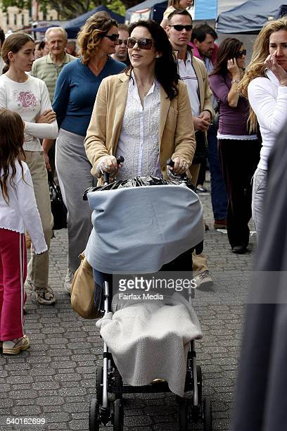Crown Princess Mary of Denmark with son Christian in a stroller at Salamanca Market on Salamanca Place in Hobart Tasmania 25 November 2006 SHD...