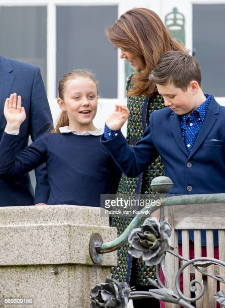 Crown Princess Mary Prince Christian and Princess Isabella of Denmark attend the 77th birthday celebrations of Danish Queen Margrethe at Marselisborg...