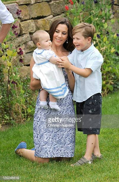 Crown Princess Mary Prince Christian and the twin Vincent Frederik Minik Alexander of Denmark attend a photocall at Grasten Castle on August 1 2011...