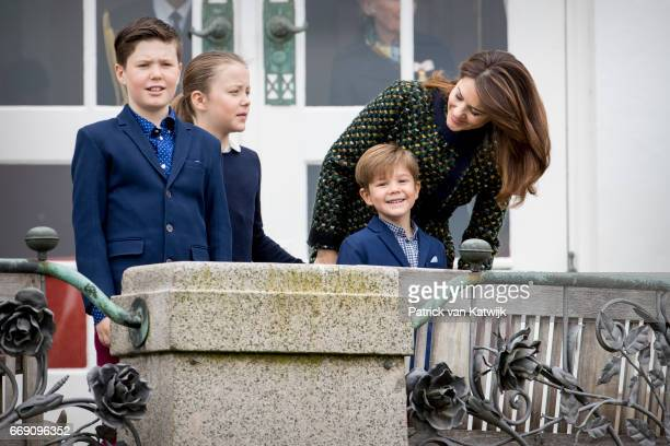 Crown Princess Mary Prince Christian Princess Isabella and Prince Vincent of Denmark attend the 77th birthday celebrations of Danish Queen Margrethe...