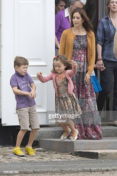 Crown Princess Mary Princess Isabella And Prince Christian Of Denmark Of The Danish Royal Family Watch The Guard Change At Grasten Palace In Southern...