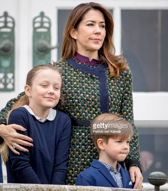 Crown Princess Mary Princess Isabella and Prince Vincent of Denmark attend the 77th birthday celebrations of Danish Queen Margrethe at Marselisborg...