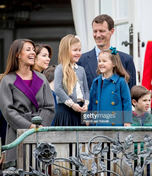 Crown Princess Mary Princess Marie Princess Josephine Princess Athena Prince Joachim and Prince Henrik of Denmark attend the 77th birthday...