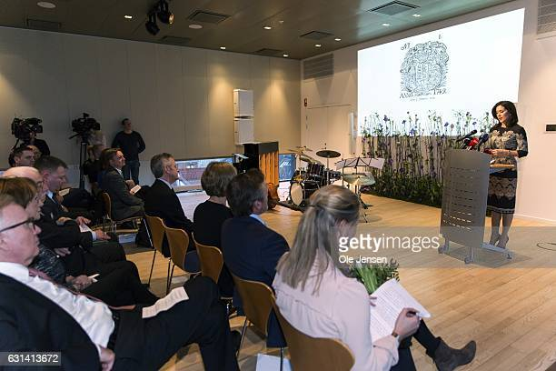 Crown Princess Mary speaks after receiving The Berlingske Foundation's Honorary Award at The Berlingske Media house on January 10 2017 in Copenhagen...