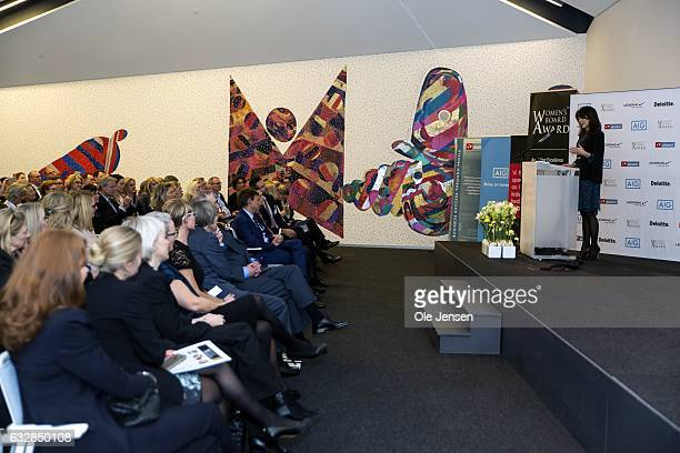 Crown Princess Mary speaks during the Women's Board Award 2017 presentation on January 27 2017 in Copenhagen Denmark The Crown Princess talked about...