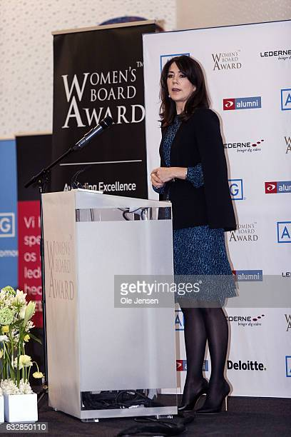Crown Princess Mary speaks during the Women's Board Award presentation on January 27 2017 in Copenhagen Denmark The Crown Princess talked about the...