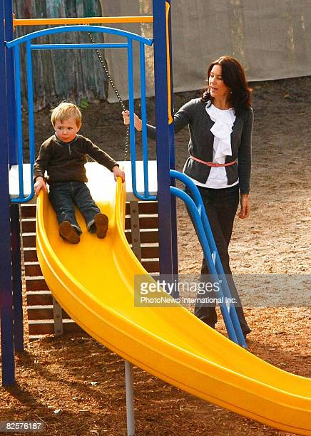 Crown Princess Mary takes her children Prince Christian and Princess Isabella to her former school Sandy Bay Infants School on August 27 2008 in...