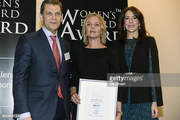 Crown Princess Mary together with winner of the Women's Board Award 2017 Pernille Erenberg and Ole Andersen chair of Danske Bank and chair of the...