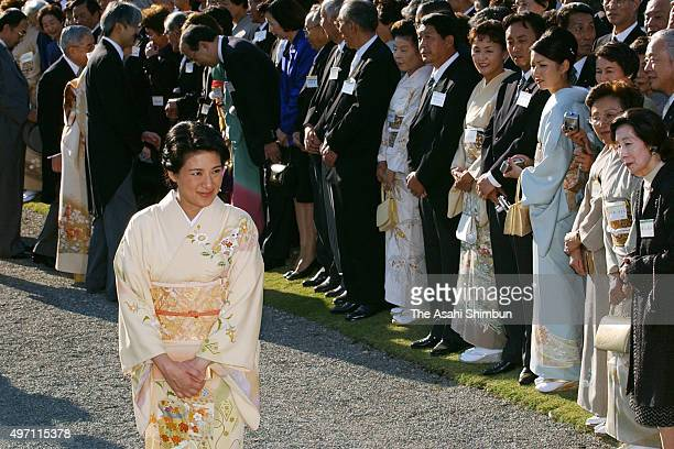 Crown Princess Masako attends the autumn garden party at the Akasaka Imperial Garden on October 30 2003 in Tokyo Japan