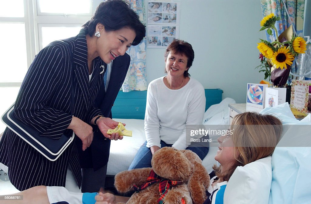 Crown Princess Masako chats with 11 year old Kayla Wicksteed during a visit to the Auckland Starship Childrens Hospital. Looking on is kayla's mum Carol. The Japanese Royal couple were in Auckland on the last day of their five day visit to New Zealand.