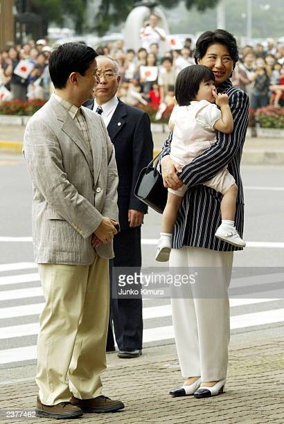 Crown Princess Masako Crown Prince Naruhito and their daughter Princess Aiko arrive at Nasu Shiobara Station on August 7 2003 in Nasu...